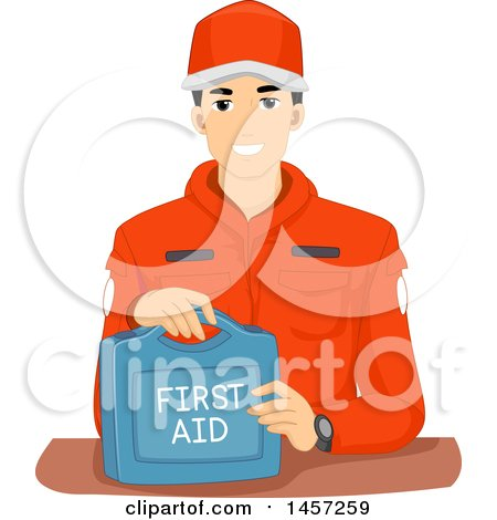 Clipart of a Male Emergency Response Team Memer with a First Aid Kit - Royalty Free Vector Illustration by BNP Design Studio