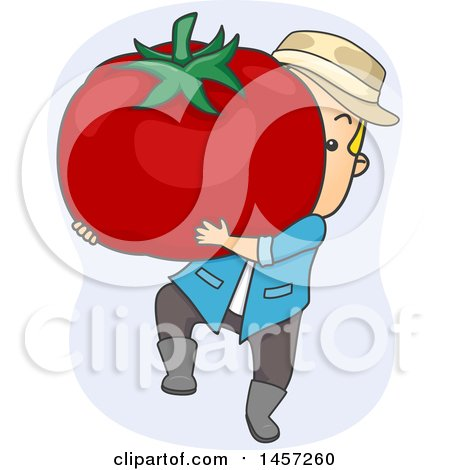 Clipart of a Cartoon Blond White Male Farmer Carrying a Giant Tomato - Royalty Free Vector Illustration by BNP Design Studio