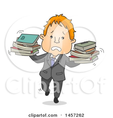 Clipart of a Cartoon Red Haired White Business Man Balancing Books - Royalty Free Vector Illustration by BNP Design Studio