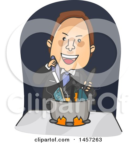 Clipart of a Cartoon Brunette White Business Man Cooking the Books - Royalty Free Vector Illustration by BNP Design Studio