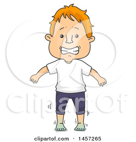 Clipart of a Cartoon Red Haired White Man with Cold Feet - Royalty Free Vector Illustration by BNP Design Studio