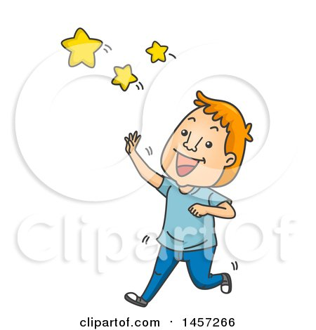 Clipart of a Cartoon Red Haired White Man Reaching for the Stars - Royalty Free Vector Illustration by BNP Design Studio
