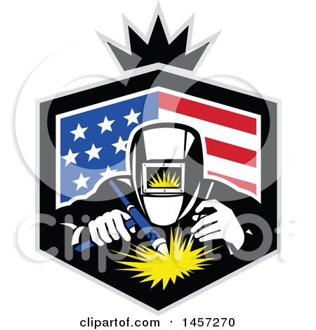 Clipart of a Retro Welder in an American Flag Shield with a Crown - Royalty Free Vector Illustration by patrimonio