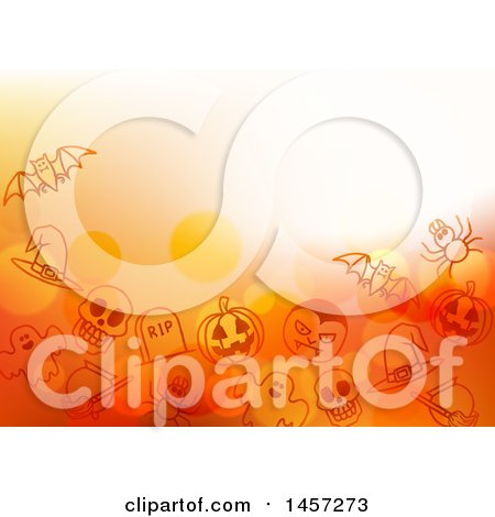 Clipart of a Halloween Background with Bubbles and Sketched Icons - Royalty Free Vector Illustration by AtStockIllustration