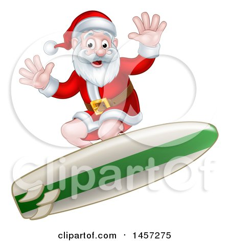 Clipart of a Christmas Santa Claus Surfing - Royalty Free Vector Illustration by AtStockIllustration