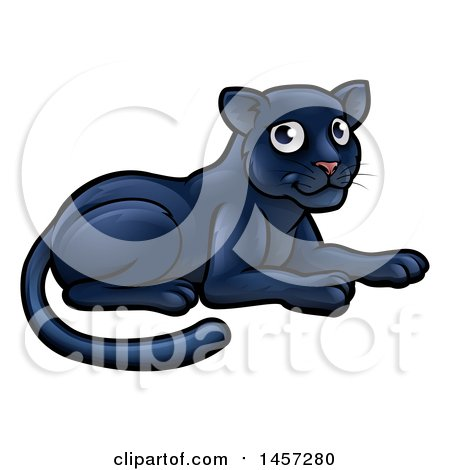Clipart of a Cartoon Resting Black Panther Big Cat - Royalty Free Vector Illustration by AtStockIllustration