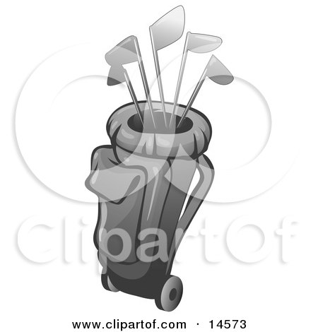 Collection Of Golf Clubs In A Bag Clipart Illustration by Leo Blanchette