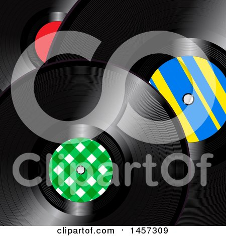 Clipart of a Background of 3d Vinyl Records - Royalty Free Vector Illustration by elaineitalia