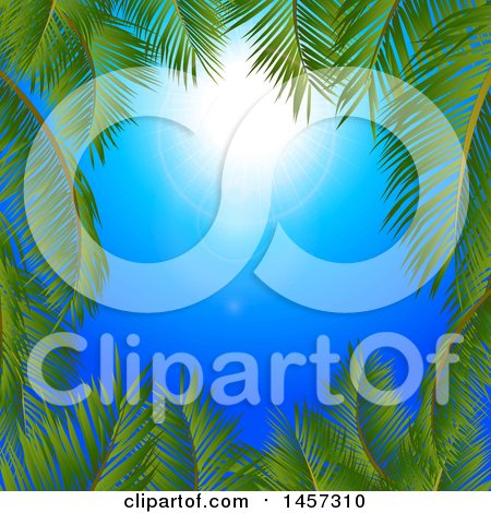 Clipart of a Sunny Blue Sky with a Border of Palm Tree Branches - Royalty Free Vector Illustration by elaineitalia