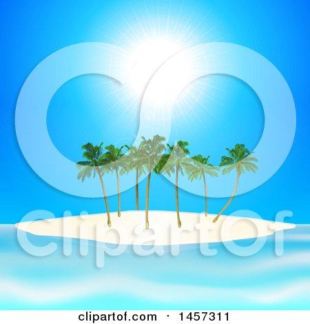 Clipart of a Sunny Blue Sky over a Tropical Island with Palm Trees - Royalty Free Vector Illustration by elaineitalia