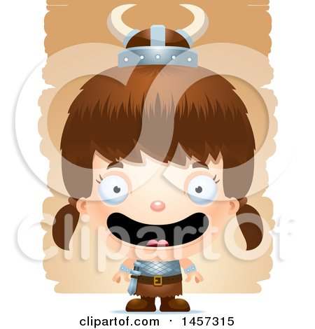 Clipart of a 3d Happy White Girl Viking over Strokes - Royalty Free Vector Illustration by Cory Thoman