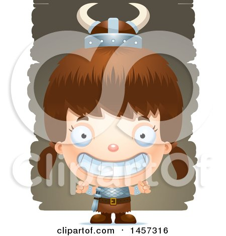 Clipart of a 3d Grinning White Girl Viking over Strokes - Royalty Free Vector Illustration by Cory Thoman