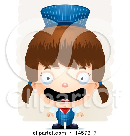 Clipart of a 3d Happy White Girl Train Engineer over Strokes - Royalty Free Vector Illustration by Cory Thoman