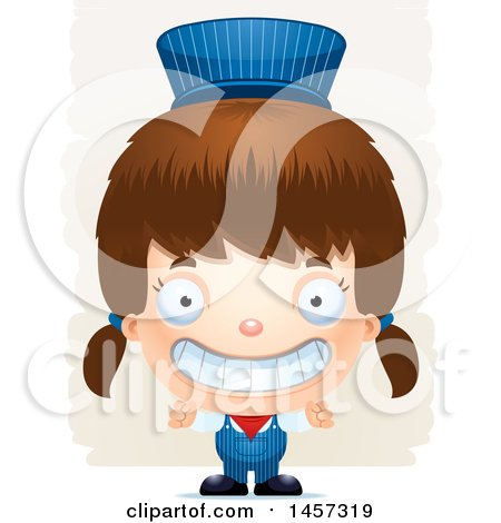 Clipart of a 3d Grinning White Girl Train Engineer over Strokes - Royalty Free Vector Illustration by Cory Thoman