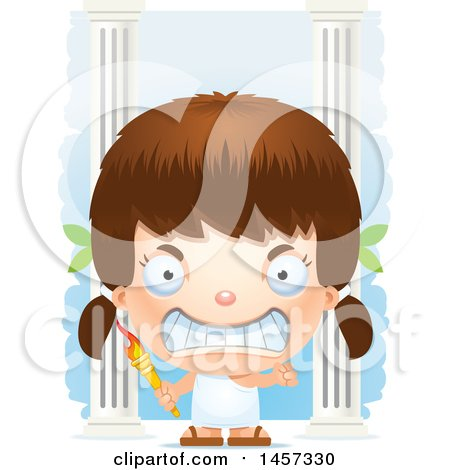 Clipart of a 3d Mad White Girl Holding a Torch over Columns - Royalty Free Vector Illustration by Cory Thoman