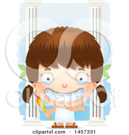 Clipart of a 3d Grinning White Girl Holding a Torch over Columns - Royalty Free Vector Illustration by Cory Thoman