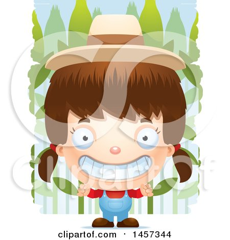 Clipart of a 3d Grinning White Girl Farmer over Crops - Royalty Free Vector Illustration by Cory Thoman