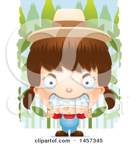 Clipart of a 3d Mad White Girl Farmer over Crops - Royalty Free Vector Illustration by Cory Thoman