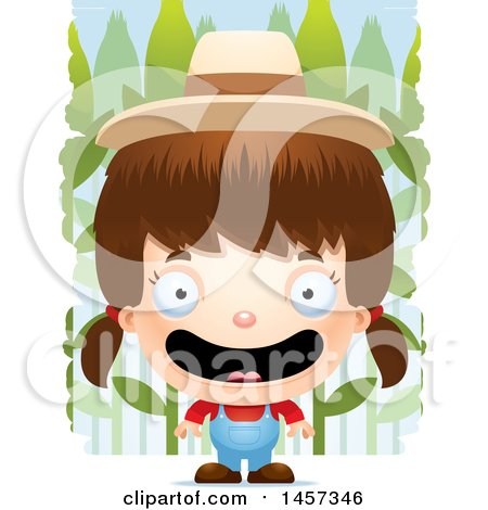 Clipart of a 3d Happy White Girl Farmer over Crops - Royalty Free Vector Illustration by Cory Thoman