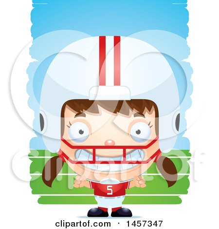 Clipart of a 3d Grinning White Girl Football Player over Strokes - Royalty Free Vector Illustration by Cory Thoman