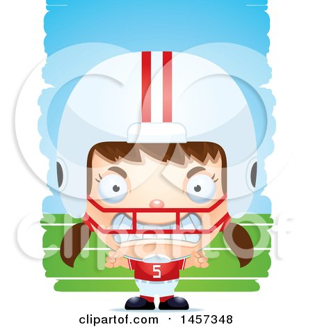 Clipart of a 3d Mad White Girl Football Player over Strokes - Royalty Free Vector Illustration by Cory Thoman