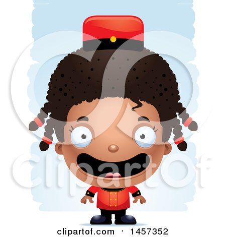 Clipart of a 3d Happy Black Girl Bellhop over Strokes - Royalty Free Vector Illustration by Cory Thoman