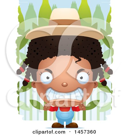 Clipart of a 3d Mad Black Girl over a Crop - Royalty Free Vector Illustration by Cory Thoman
