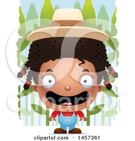 Clipart of a 3d Happy Black Girl over a Crop - Royalty Free Vector Illustration by Cory Thoman