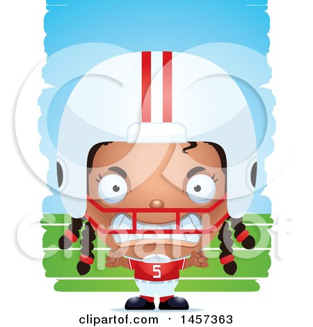 Clipart of a 3d Mad Black Girl Powder Puff Football Player over Strokes - Royalty Free Vector Illustration by Cory Thoman