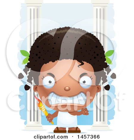 Clipart of a 3d Mad Black Girl Holding a Torch over Columns - Royalty Free Vector Illustration by Cory Thoman