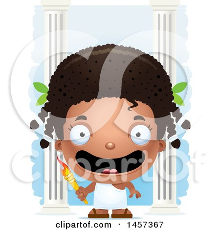Clipart of a 3d Happy Black Girl Holding a Torch over Columns - Royalty Free Vector Illustration by Cory Thoman