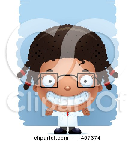 Clipart of a 3d Grinning Black Girl Scientist over Strokes - Royalty Free Vector Illustration by Cory Thoman