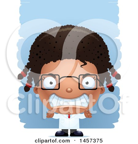 Clipart of a 3d Mad Black Girl Scientist over Strokes - Royalty Free Vector Illustration by Cory Thoman
