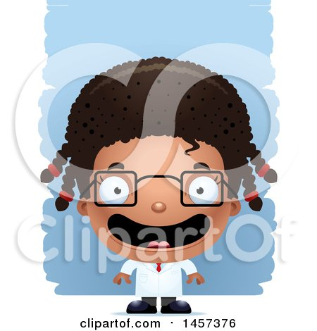 Clipart of a 3d Happy Black Girl Scientist over Strokes - Royalty Free Vector Illustration by Cory Thoman