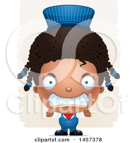 Clipart of a 3d Mad Black Girl Train Engineer over Strokes - Royalty Free Vector Illustration by Cory Thoman