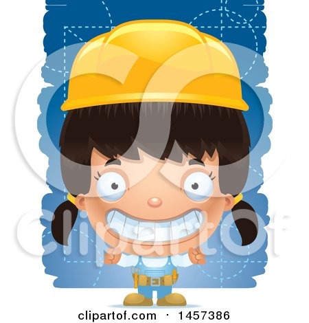 Clipart of a 3d Grinning Hispanic Girl Builder over Blue - Royalty Free Vector Illustration by Cory Thoman
