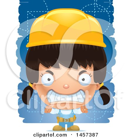 Clipart of a 3d Mad Hispanic Girl Builder over Blue - Royalty Free Vector Illustration by Cory Thoman