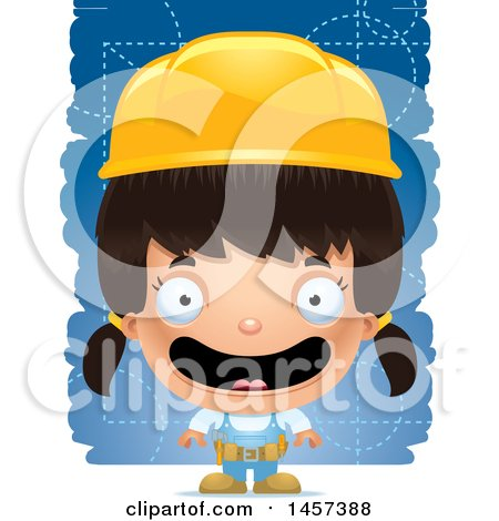 Clipart of a 3d Happy Hispanic Girl Builder over Blue - Royalty Free Vector Illustration by Cory Thoman