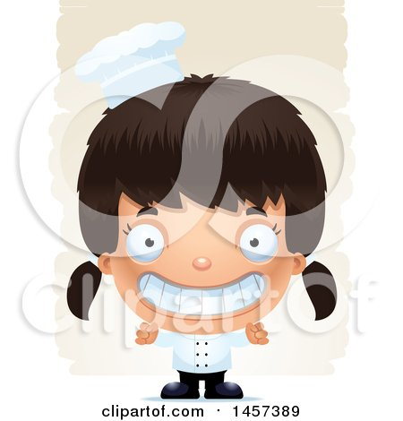 Clipart of a 3d Grinning Hispanic Girl Chef over Strokes - Royalty Free Vector Illustration by Cory Thoman