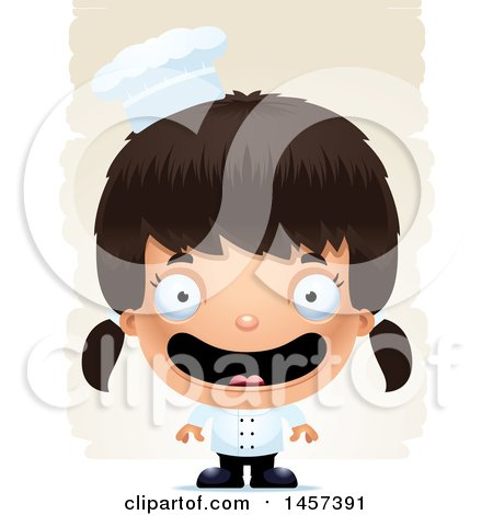 Clipart of a 3d Happy Hispanic Girl Chef over Strokes - Royalty Free Vector Illustration by Cory Thoman