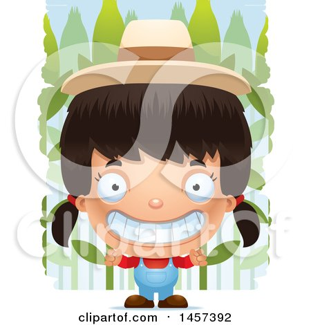 Clipart of a 3d Grinning Hispanic Girl Farmer over a Crop - Royalty Free Vector Illustration by Cory Thoman