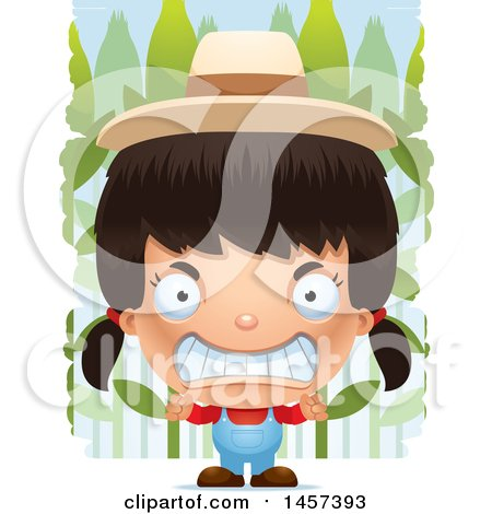 Clipart of a 3d Mad Hispanic Girl Farmer over a Crop - Royalty Free Vector Illustration by Cory Thoman