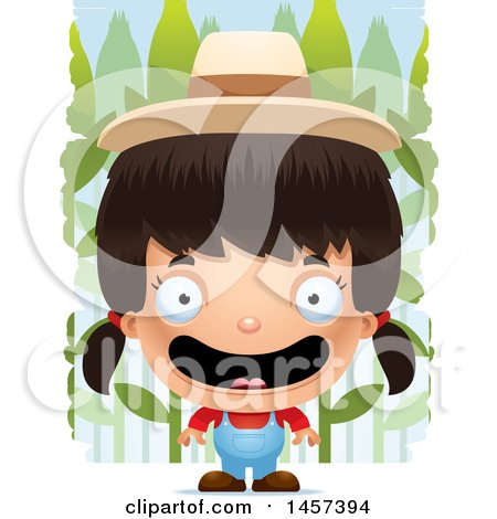 Clipart of a 3d Happy Hispanic Girl Farmer over a Crop - Royalty Free Vector Illustration by Cory Thoman