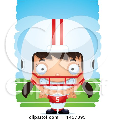 Clipart of a 3d Grinning Hispanic Girl Powder Puff Football Player over Strokes - Royalty Free Vector Illustration by Cory Thoman