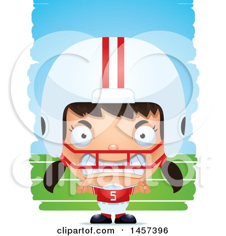 Clipart of a 3d Mad Hispanic Girl Powder Puff Football Player over Strokes - Royalty Free Vector Illustration by Cory Thoman