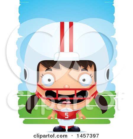 Clipart of a 3d Happy Hispanic Girl Powder Puff Football Player over Strokes - Royalty Free Vector Illustration by Cory Thoman