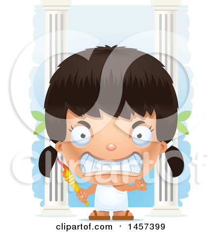 Clipart of a 3d Mad Hispanic Girl Holding a Torch over Columns - Royalty Free Vector Illustration by Cory Thoman