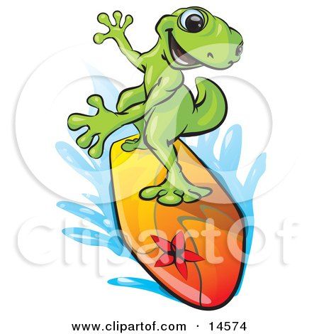 Sporty Green Gecko Riding A Colorful Surfboard and Rushing Through Blue Water Clipart Illustration by Leo Blanchette