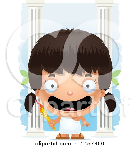 Clipart of a 3d Happy Hispanic Girl Holding a Torch over Columns - Royalty Free Vector Illustration by Cory Thoman