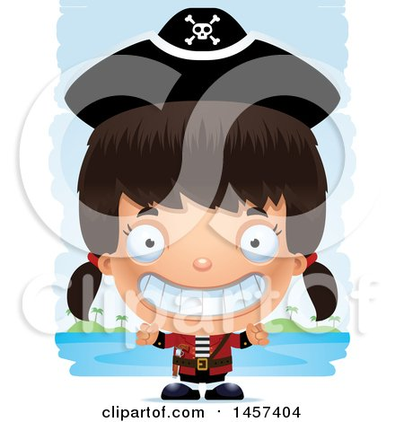Clipart of a 3d Grinning Hispanic Girl Pirate over Strokes - Royalty Free Vector Illustration by Cory Thoman